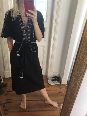 LA Beachkleid von St. Roche bestickt in schwarzer Baumwolle Tunikakleid Stickereien