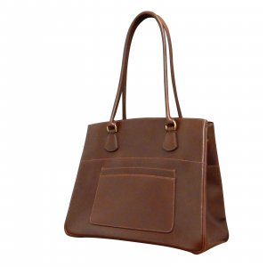 LA Brown Box Calf Leather Handbag Tote bag