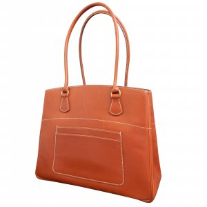 LA Cognac Red Brown Leather Skin Handbag
