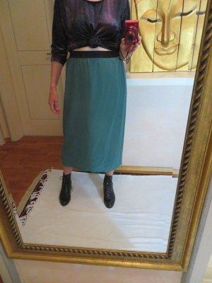 La Couture Paris Vintage Seidenrock Tannengrün Schimmerd 100% Seide - Crepe de Chine Gr. M L Festival WIE NEU!