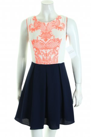 La Esquina Azul A-Linien Kleid Ornamentenmuster Materialmix-Look