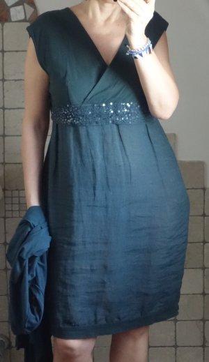la fée maraboutée Balloon Dress petrol-forest green linen