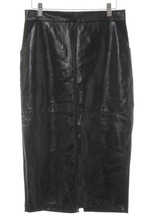 la fée maraboutée Falda de cuero de imitación negro estilo extravagante