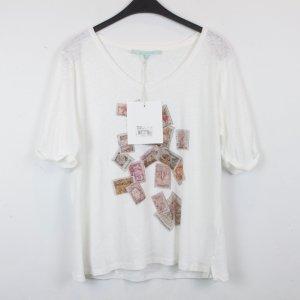 La fée maraboutée Shirt Leinenshirt Gr. 4/L weiß mit Briefmarkenprint NEU mit Etikett (18/2/517)