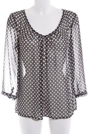 la fée maraboutée Transparenz-Bluse schwarz-creme abstraktes Muster