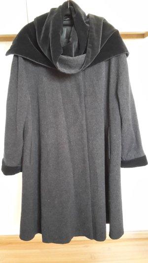 Manteau gris anthracite-noir tissu mixte