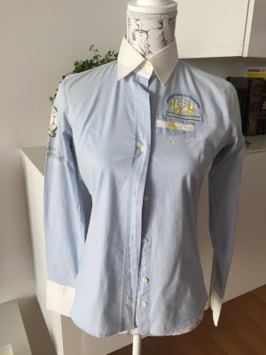La Martina Bluse hellblau weiß Patches Stickereien Gr. M