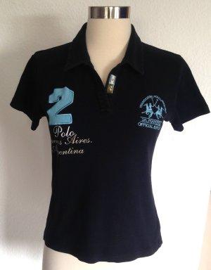 La Martina Polo Shirt dark blue-azure cotton