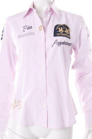 La Martina Hemd-Bluse rosa-weiß Schriftzug gestickt Stickereiverzierung