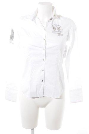 La Martina Hemd-Bluse weiß-blasslila klassischer Stil