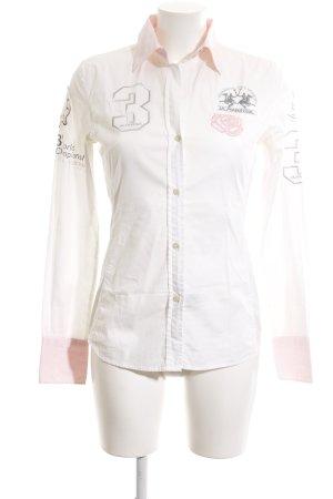 La Martina Hemd-Bluse weiß-pink Casual-Look