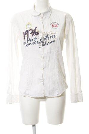 La Martina Hemd-Bluse wollweiß Schriftzug gedruckt Casual-Look