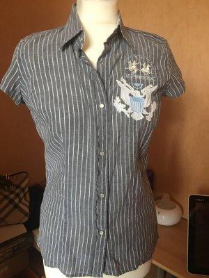 La Martina Shirt met korte mouwen grijs-wit