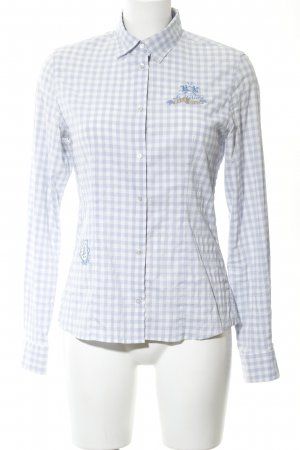 La Martina Checked Blouse light grey-white check pattern casual look