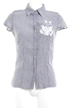 La Martina Chemise à manches courtes gris foncé-bleu azur lettrage brodé