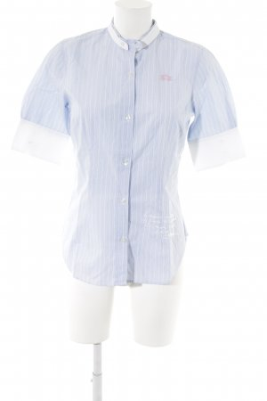 La Martina Short Sleeve Shirt white-azure striped pattern casual look