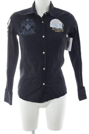 La Martina Langarm-Bluse dunkelblau grafisches Muster Casual-Look