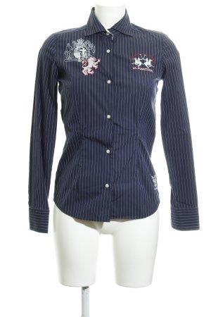La Martina Langarm-Bluse dunkelblau-weiß Reiter-Look
