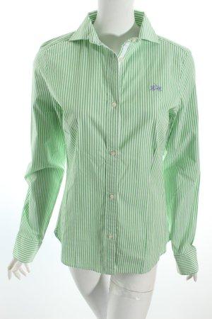 La Martina Langarm-Bluse weiß-grün Streifenmuster Casual-Look