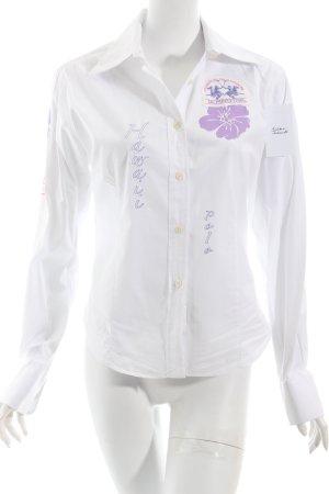 La Martina Langarm-Bluse weiß-helllila Motivdruck sportlicher Stil