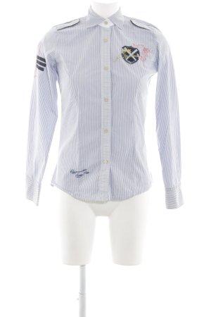 La Martina Long Sleeve Shirt blue striped pattern business style