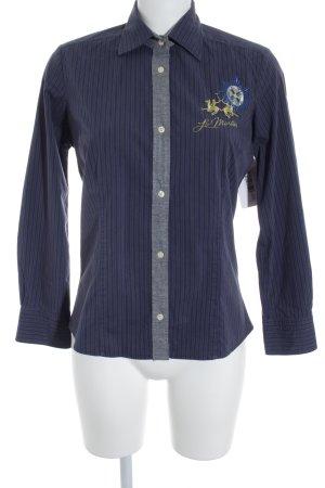 La Martina Langarmhemd dunkelblau-grau Streifenmuster Casual-Look