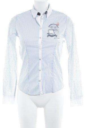 La Martina Chemise à manches longues bleu azur-blanc motif rayé