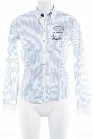 La Martina Camisa de manga larga azul celeste-blanco estampado a rayas