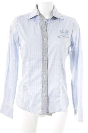 La Martina Langarmhemd weiß-himmelblau Streifenmuster Casual-Look