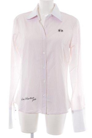 La Martina Langarmhemd weiß-rosé Schriftzug gestickt Business-Look
