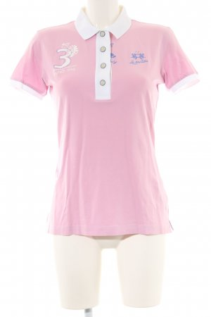 La Martina Polo Shirt pink-white printed lettering casual look