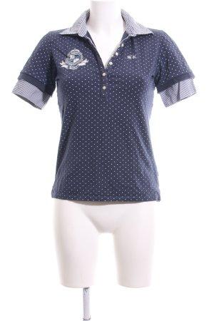 La Martina Polo-Shirt blau-weiß Motivdruck Casual-Look