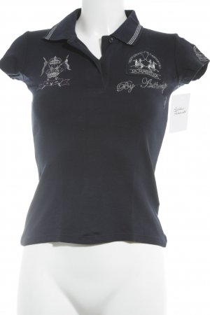 La Martina Polo-Shirt dunkelblau-silberfarben grafisches Muster Elegant