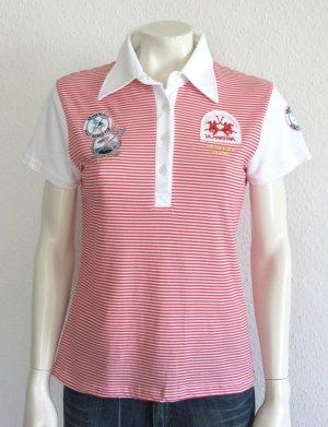 La MArtina Polo-Shirt Gr. L rot/weiss gestreift Logo/Hologramm