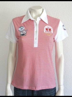 LA MARTINA POLO-SHIRT GR. L WEISS ROT LOGO