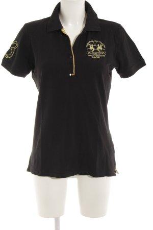 La Martina Polo-Shirt schwarz-goldfarben Schriftzug gestickt sportlicher Stil