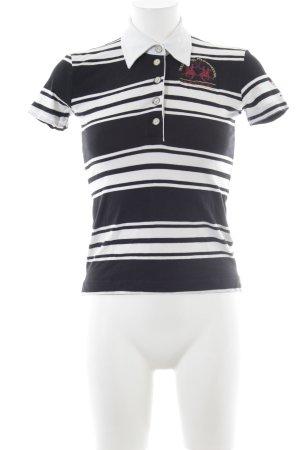 La Martina Camiseta tipo polo negro-blanco estampado a rayas look casual