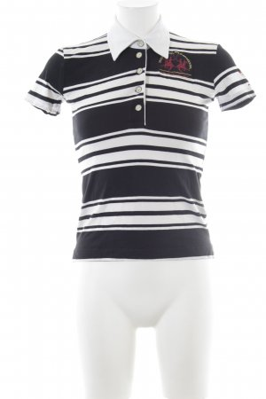 La Martina Polo-Shirt schwarz-weiß Streifenmuster Casual-Look
