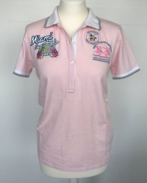 La Martina Poloshirt rosa mit Motiv-Applikationen