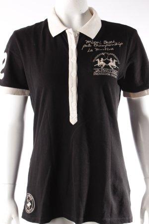 La Martina Poloshirt schwarz-creme