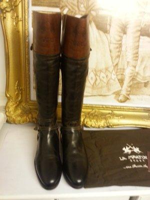 La Martina Riding Boots dark brown-cognac-coloured leather