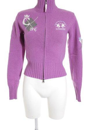 La Martina Strickjacke weiß-pink Schriftzug gestickt sportlicher Stil