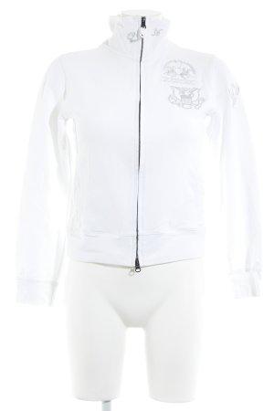 La Martina Sweatjacke weiß-silberfarben Schriftzug gedruckt Casual-Look