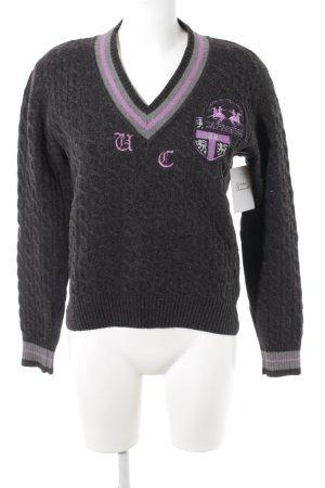 La Martina V-Neck Sweater grey-lilac casual look