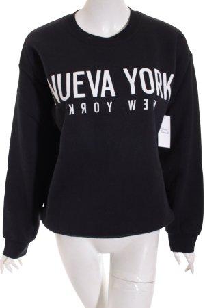 La Notte Sweatshirt schwarz-weiß Schriftzug gedruckt Casual-Look