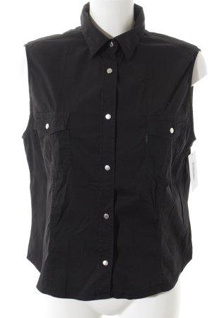 La perla ärmellose Bluse schwarz schlichter Stil
