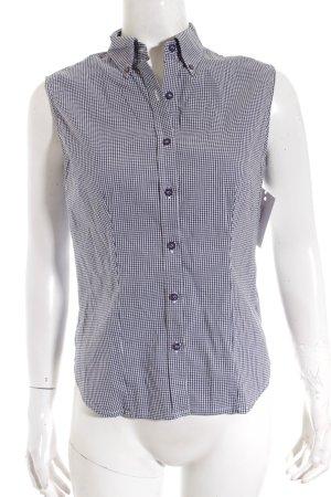 La perla ärmellose Bluse weiß-schwarz Vichykaromuster klassischer Stil