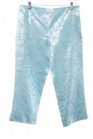 La perla Culottes türkis-silberfarben florales Muster extravaganter Stil