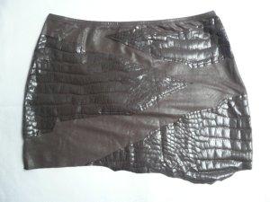 La Perla Eyecatcher Mini Rock Skirt mit Krokoprint stretchig braun Gr 36