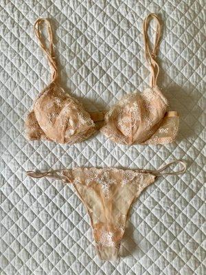 La perla Conjunto de lencería beige claro poliamida